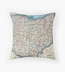 Vintage Map of Ohio (1921) Throw Pillow