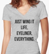 Just Wing It Women's Fitted V-Neck T-Shirt