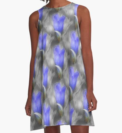 Blue Gentian Flower Pattern In Partial Color A-Line Dress