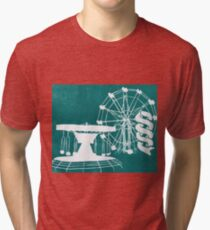 Seaside Fair in Turquoise Tri-blend T-Shirt