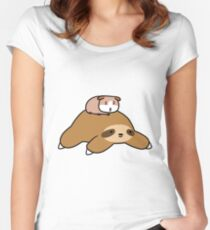 Sloth and Guinea Pig Women's Fitted Scoop T-Shirt