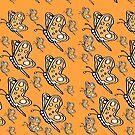 Vintage Butterfly pattern on orange melon background by HEVIFineart