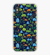 Colorful Assorted Trees Cartoon Style-Blue Background iPhone Case