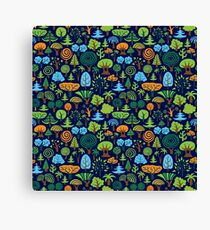 Colorful Assorted Trees Cartoon Style-Blue Background Canvas Print