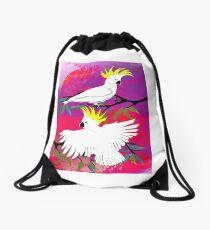 BushFire Sulfur Crested Cockatoos 2 Drawstring Bag