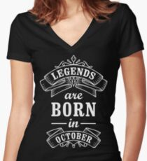 Legends Born in october Women's Fitted V-Neck T-Shirt