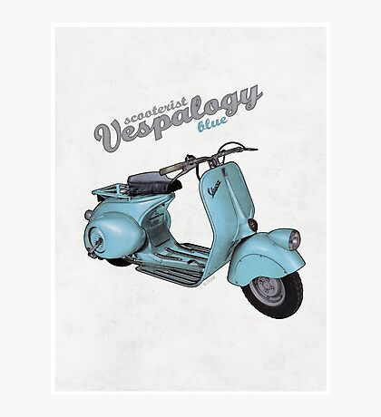Scooterist Vespalogy (blue) Photographic Print