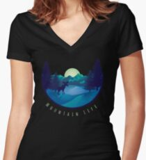 Mountain Life Minimal Landscape Women's Fitted V-Neck T-Shirt