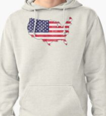 USA Map Flag Pullover Hoodie
