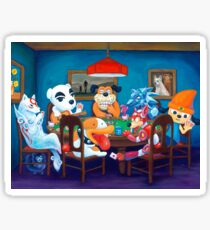 Video Game Dogs Playing Poker Sticker