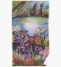 Oil Lake and Flowers Poster