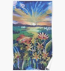 Oil Flowers on a Field Poster
