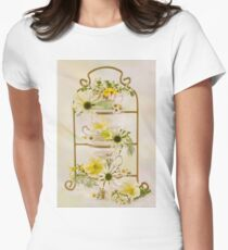Teacups And Flowers Womens Fitted T-Shirt