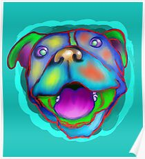 acrylic happy pit bull Poster