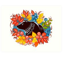 The Bear in autumn forest Art Print
