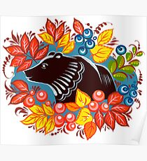 The Bear in autumn forest Poster