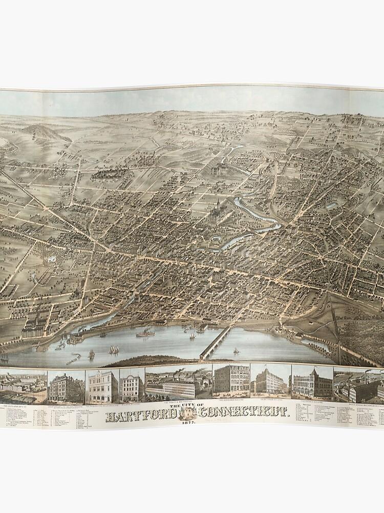 Vintage Pictorial Map of Hartford CT (1877) | Poster