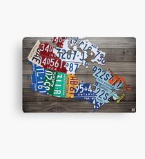 Map of Canada Vintage License Plate Art - Grey Stain Canvas Print
