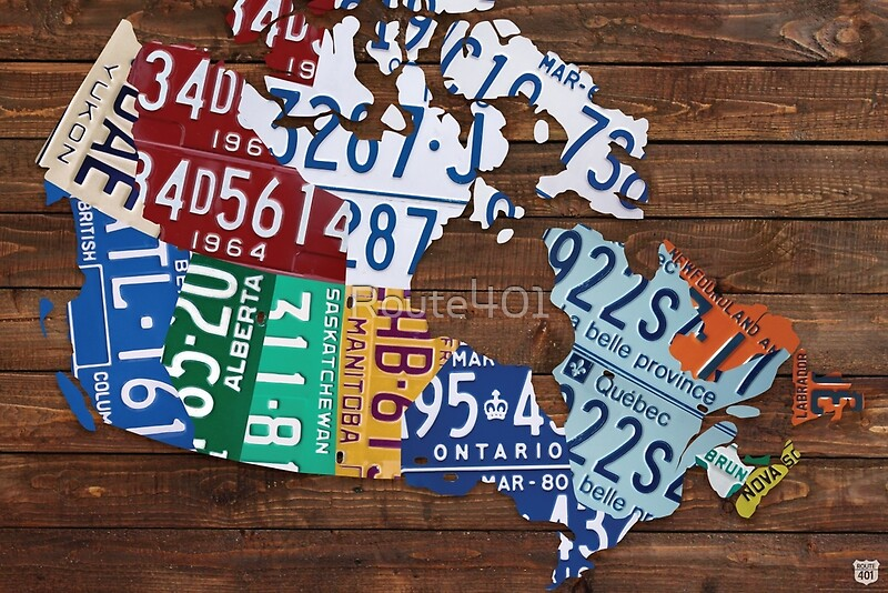 Map of Canada License Plate Rustic Art Reclaimed Wood Posters