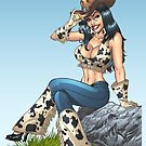 Cowgirl Tipping Her Cowboy Hat Illustration by Al Rio by alrioart