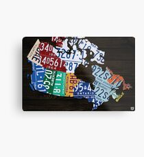 Map of Canada License Plate Vintage Art - Ebony Metal Print