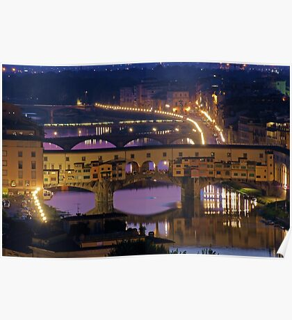 Ponte Vechhio at Night (Florence, Italy) Poster