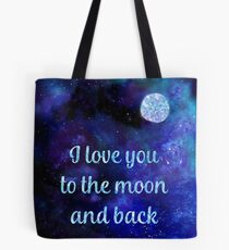 I love you to the moon and back watercolour and silver foil effect art Tote Bag