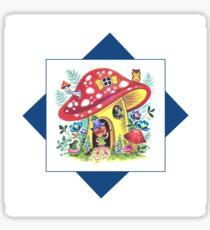 Vintage Pixie Elf In His Mushroom House Retro Kitsch Design Sticker