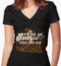 Sleeping Wham! Women's Fitted V-Neck T-Shirt
