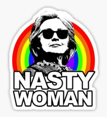 Hillary Clinton Nasty Woman Rainbow Sticker