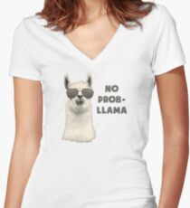 No Problem Llama Women's Fitted V-Neck T-Shirt