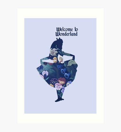 Welcome to Wonderland - Blue Art Print