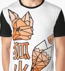 Kitsunebi Fire Fox Yokai Geometric Design Graphic T-Shirt