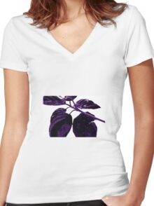 Purple leaves Women's Fitted V-Neck T-Shirt