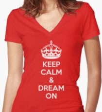 Keep Calm & Dream On Women's Fitted V-Neck T-Shirt