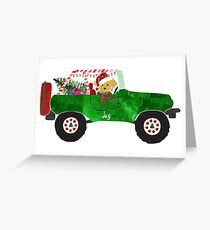 Preppy Dog Christmas Jeep Retriever Puppy Greeting Card