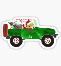Preppy Dog Christmas Jeep Retriever Puppy Sticker