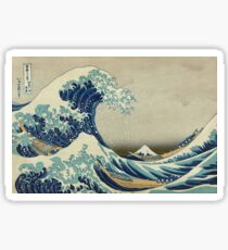 Hokusai, Great Wave off Kanagawa, Thirty-six Views of Mount Fuji, no. 21. Japan, Japanese, Wood block, print Sticker