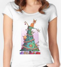 Christmas Cats Women's Fitted Scoop T-Shirt