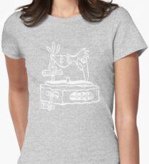 Flintstones Vinyl Record Dj Turntable Womens Fitted T-Shirt