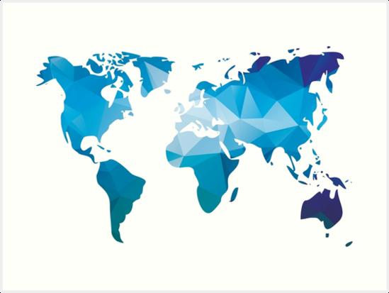 Quot World Map In Geometric Triangle Pattern Design Quot Art