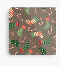 Christmas stockings and candy canes fun design  Metal Print