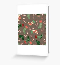 Christmas stockings and candy canes fun design  Greeting Card