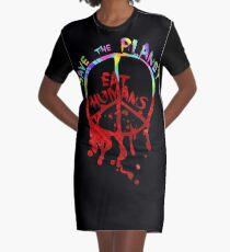 save the planet, EAT HIMANS - paint Graphic T-Shirt Dress