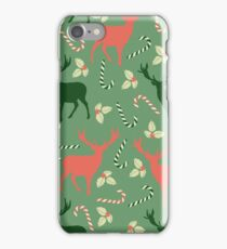 Deer and candy canes fun Christmas design  iPhone Case/Skin