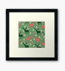 Deer and candy canes fun Christmas design  Framed Print