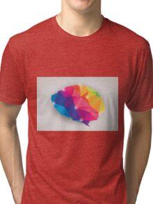Abstract geometric human brain, triangles, creativity Tri-blend T-Shirt