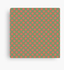 Fun Christmas red dots on green background pattern  Canvas Print