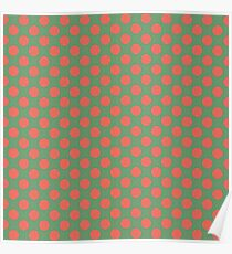 Fun Christmas red dots on green background pattern  Poster