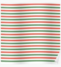 Red, green and white stripes, fun Christmas colours Poster